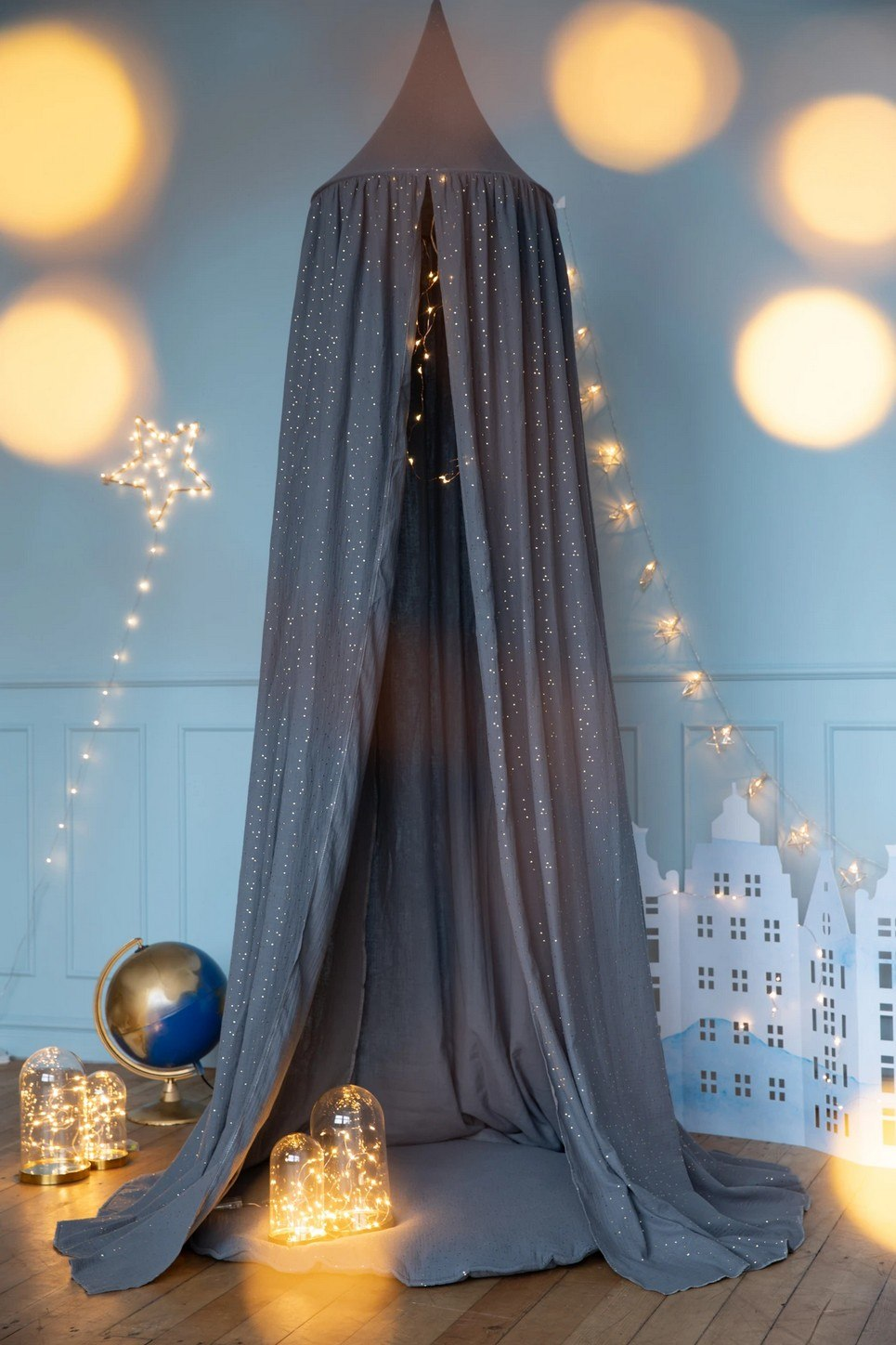 Grey Nursery Canopy with Gold Dots
