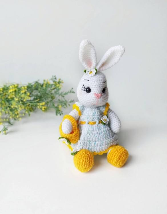 Strong and courageous, the Hand Knitted Easter Bunny Doll Children's Plush Toy will watch over your little one each night and be by their side through every adventure. A friend for life.