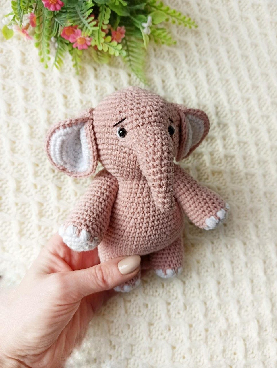 Hand Knitted Elephant Children's Plush Toy