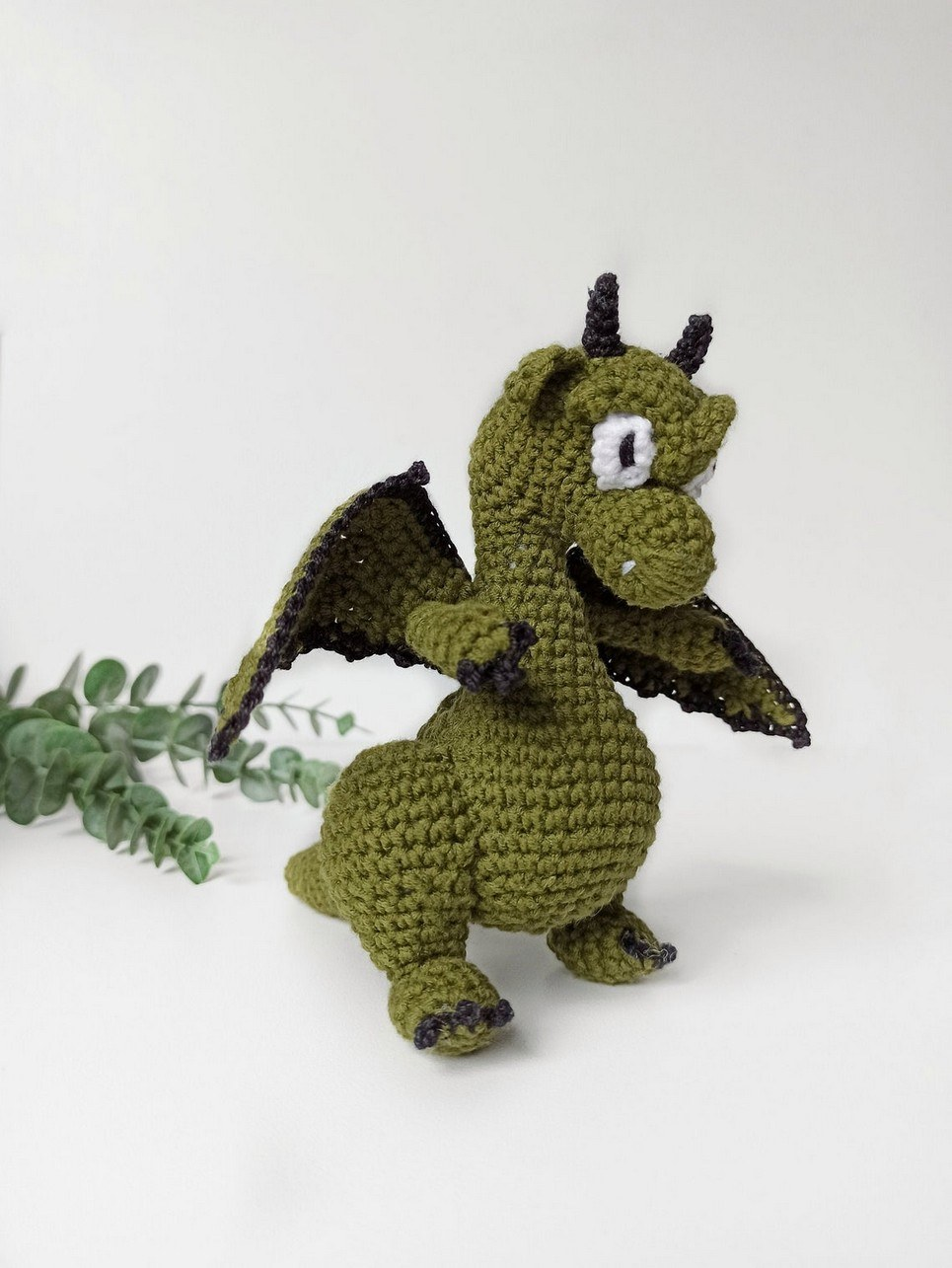 Hand Knitted Green Dragon Children's Plush Toy