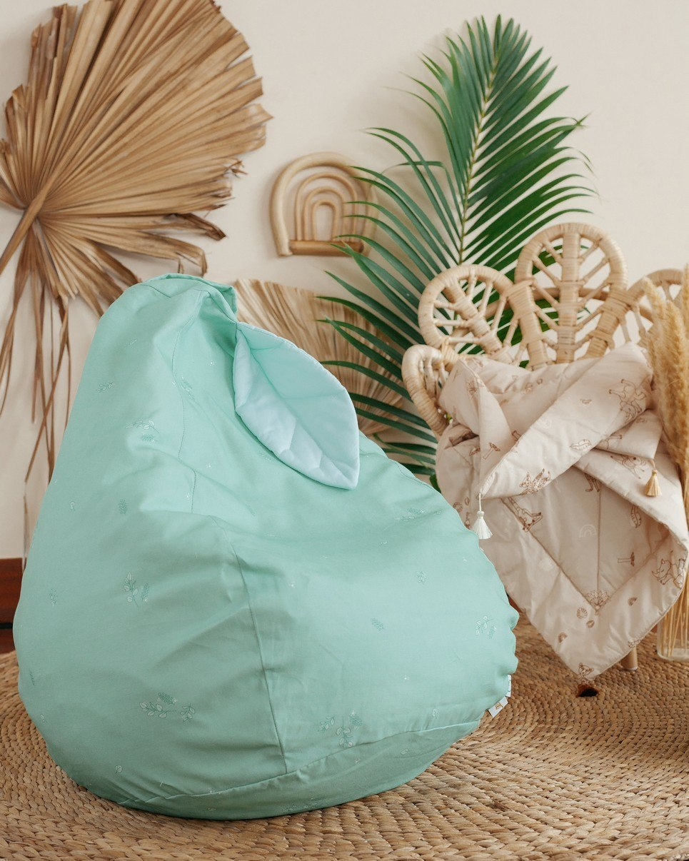 Minty Green Leaf Children's Bean Bag