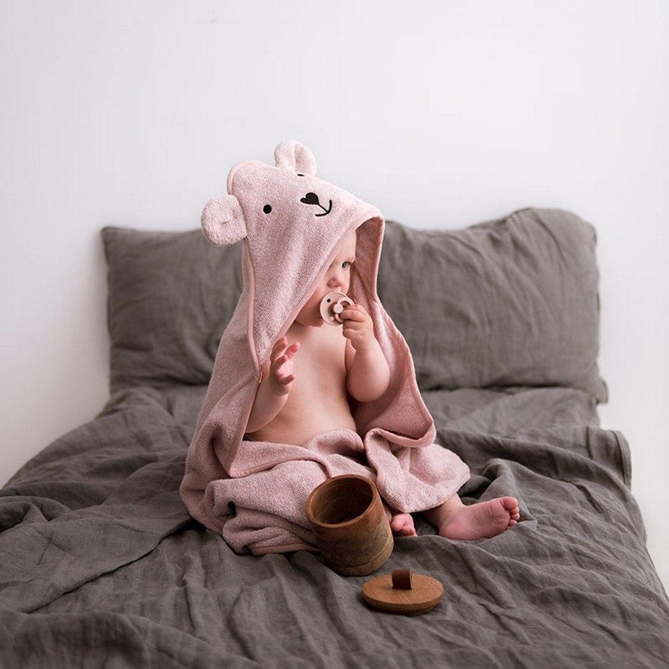 Powder Pink Hooded Baby Bath Towel