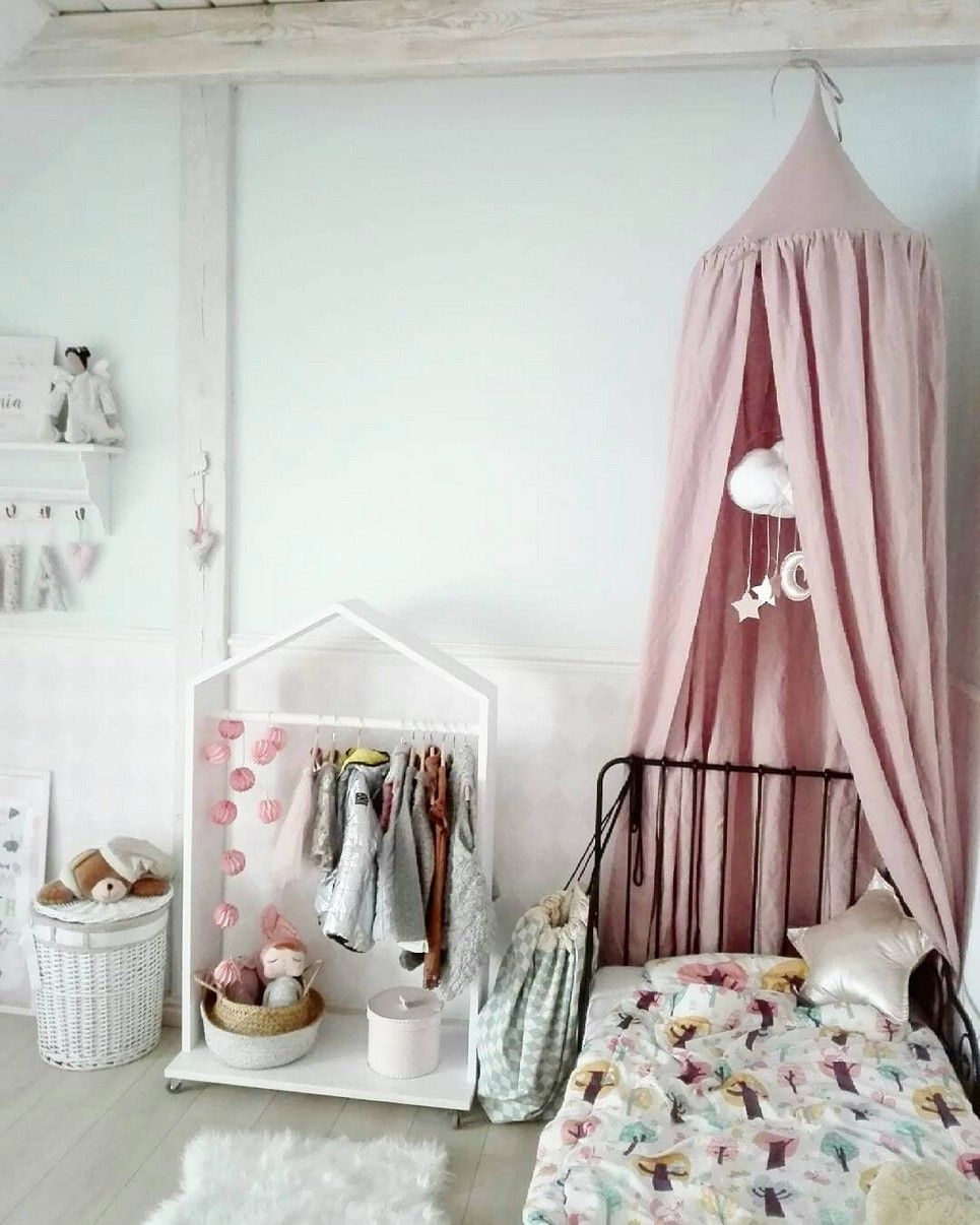Dusty Pink Linen Children's Bed Canopy