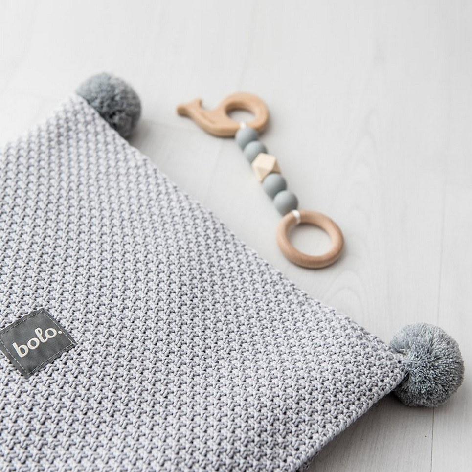 Gray Bamboo and Cotton Baby Blanket with Pompoms