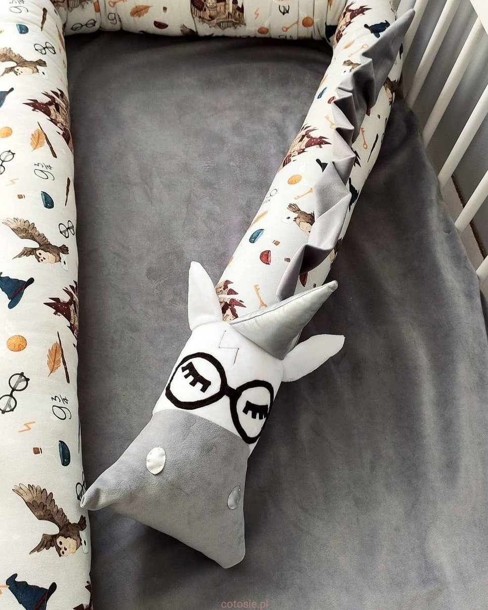 Harry Unicorn School of Magic Gray Cot Bumper