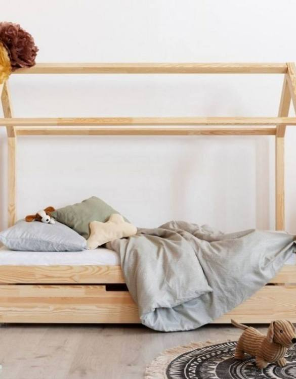 Turn bedtime into a magical adventure with the Hausbett Solid House Bed with Trundle Bed. An amazing Montessori bed for children where they can sleep and play.
