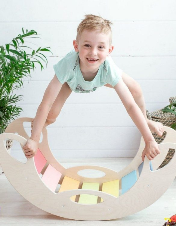 A real educational wooden toy, the Jumbo Rainbow Rocking Toy is perfect for creative and curious toddlers at playtime. This rocking toy could be an ideal starting point for a toddler's healthy development as it offers a lot of excitement and directs children to take joy in movement.