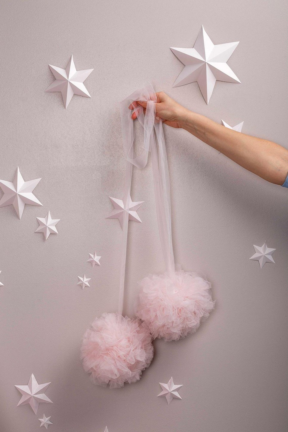 Light Rose Soft Tulle Pom Poms