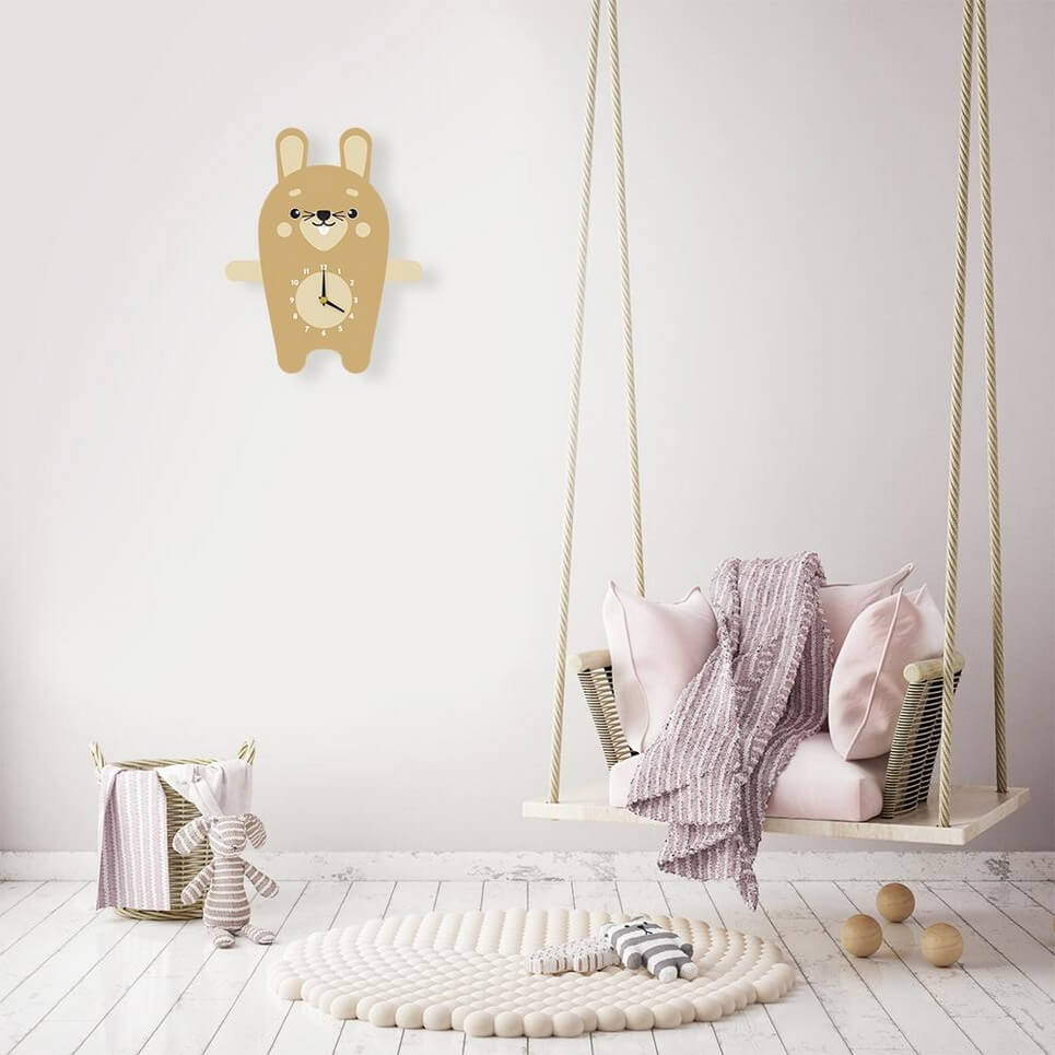 Reggie The Rabbit Pendulum Wall Clock