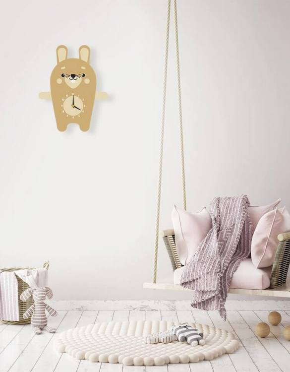 Ideal for hanging on the nursery or bedroom wall, the Reggie The Rabbit Pendulum Wall Clock is a great way of helping children learn to tell the time whilst offering a stunning wall decoration!
