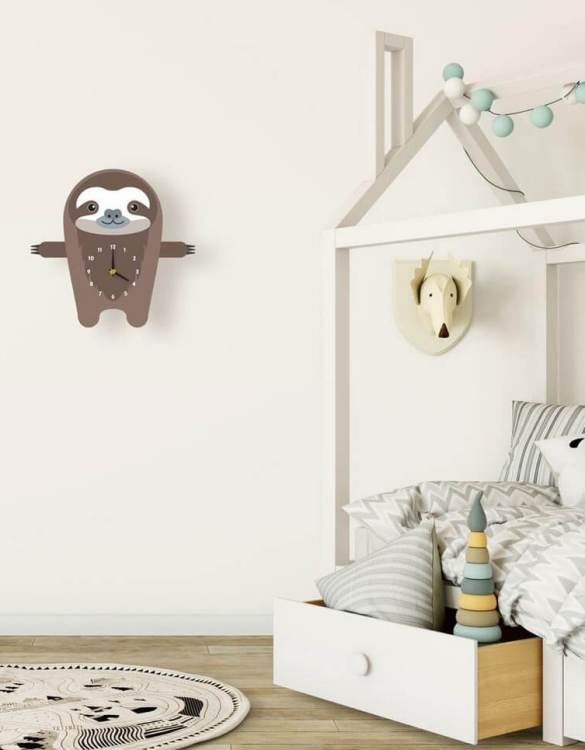 Ideal for hanging on the nursery or bedroom wall, the Samuel The Sloth Pendulum Wall Clock is a great way of helping children learn to tell the time whilst offering a stunning wall decoration!
