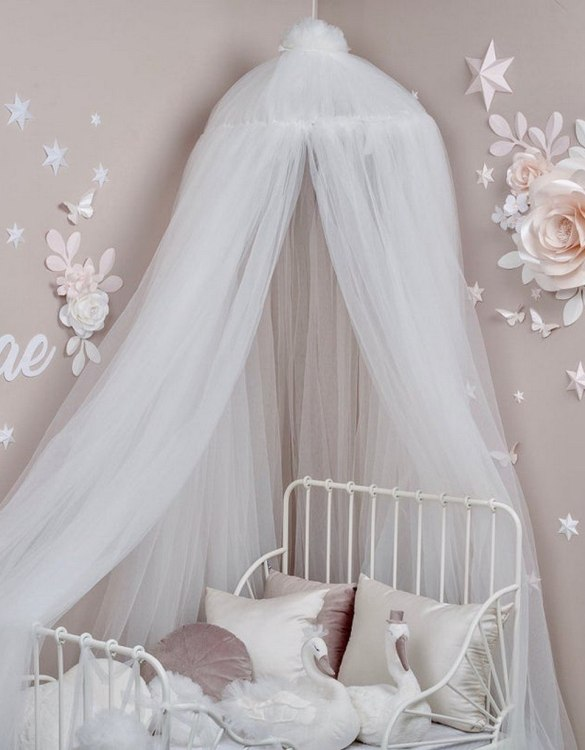 A magical space with whimsical charm, the White Tulle Bed Canopy is a perfect accent for the nursery room. Turn bedtime into a magical adventure with this charming children's bed canopy. An amazing place for children where they can sleep and play.