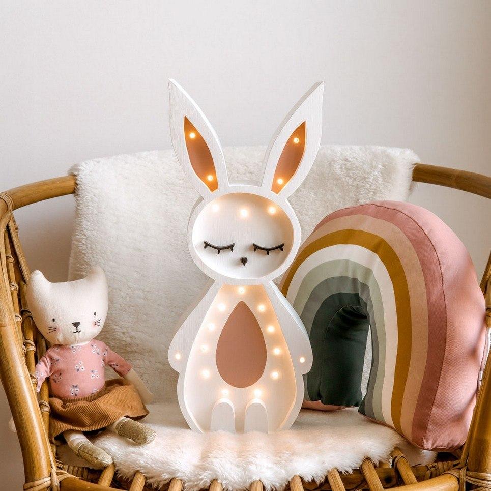 Wooden Bunny Lamp