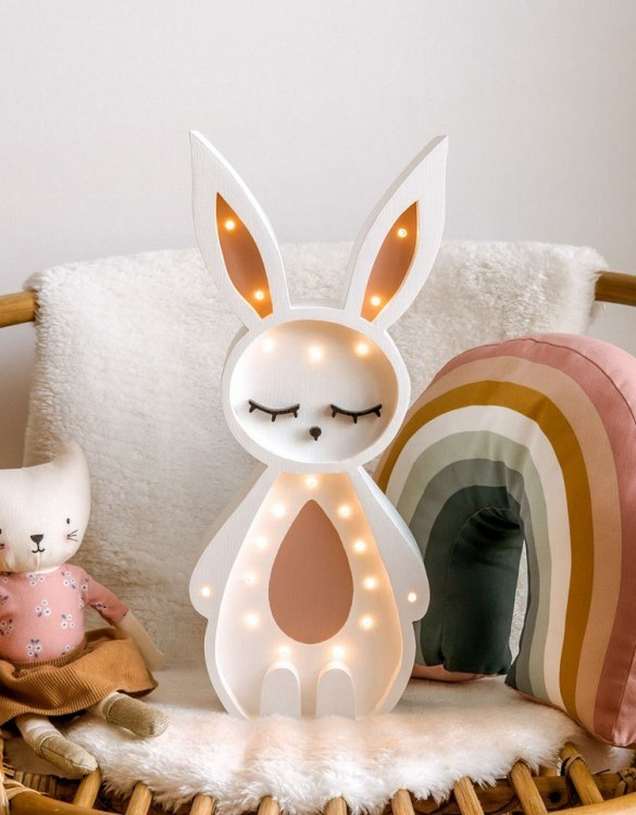 Light up your little one's room with the Wooden Bunny Lamp, we think bedtime just got easier! The children's night light will help inspire your kids' love for the outdoors and dreams of big adventures and will help add a sense of calm to your little one's bedroom.