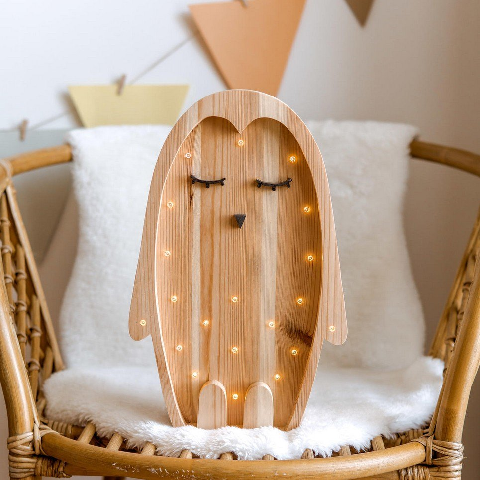 Wooden Penguin Lamp with Visible Wood