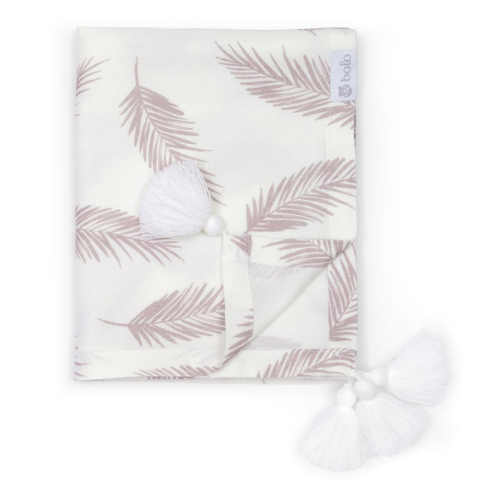Beige Leaves Bamboo Swaddle Blanket