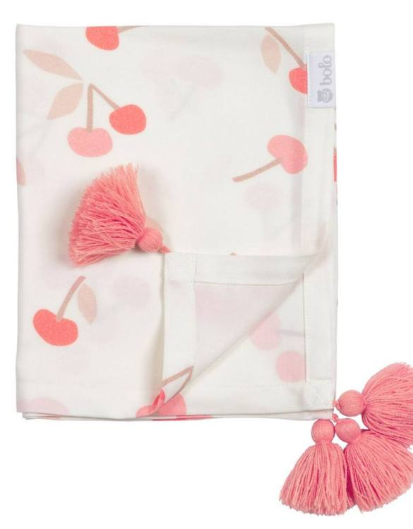 Giving a beautifully soft feel, the Cherries Bamboo Swaddle Blanket is a lovely lightweight swaddle blanket for your little one. A gift that's sure to be spotted from all the rest.