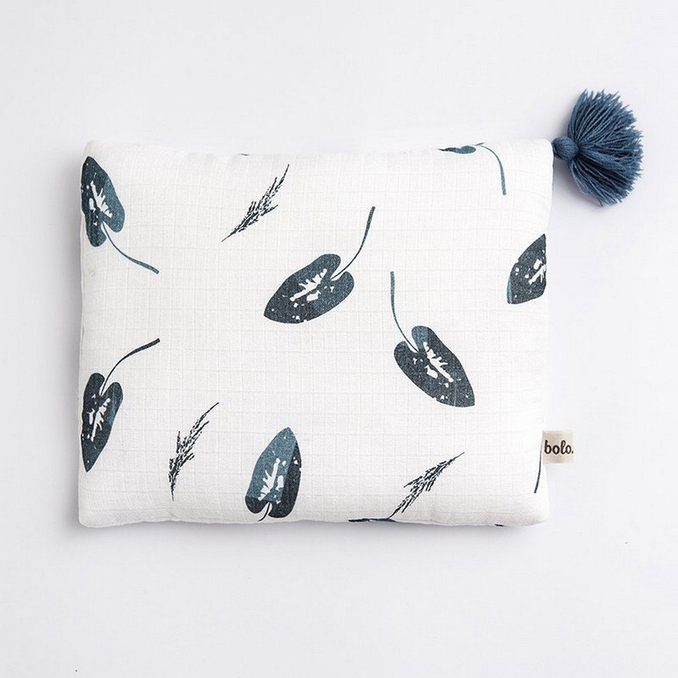 Denim Leaves Baby Muslin Pillow