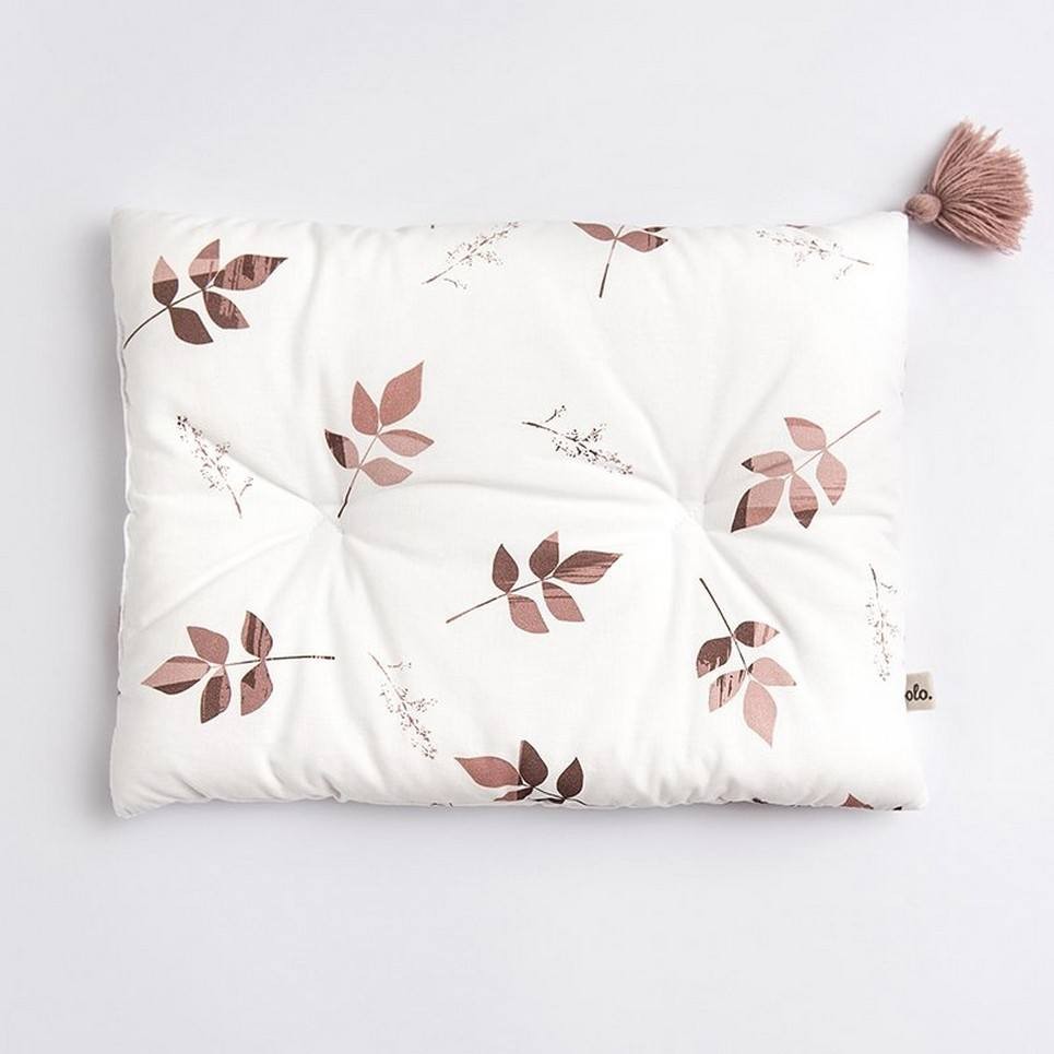 Dirty Pink Leaves Baby Cotton Pillow with Tassel