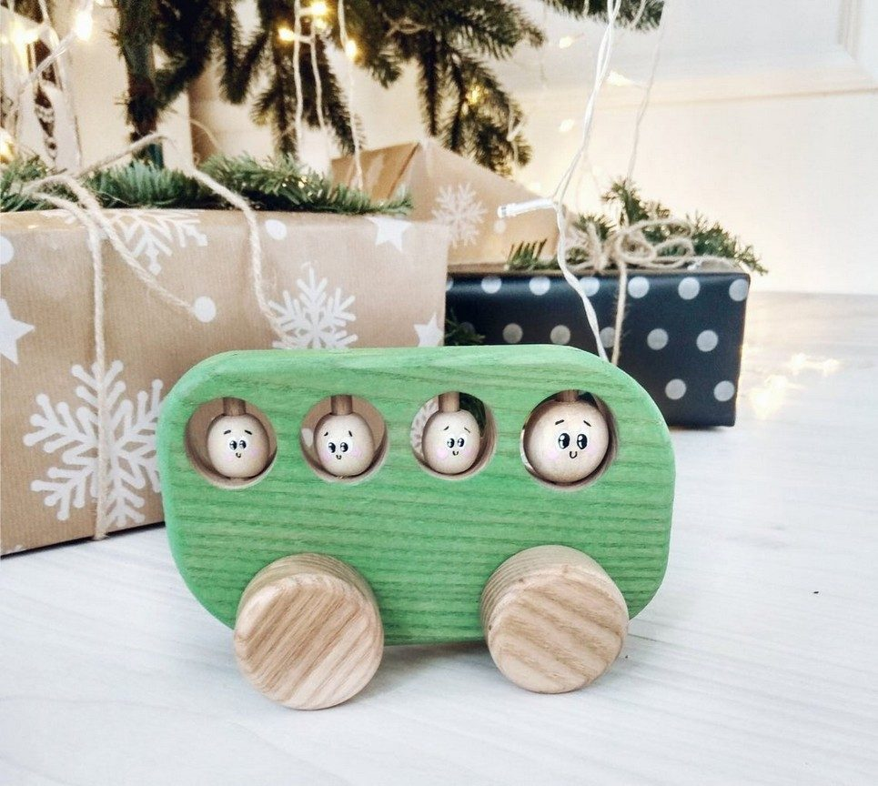 Green Wooden Bus Push Toy