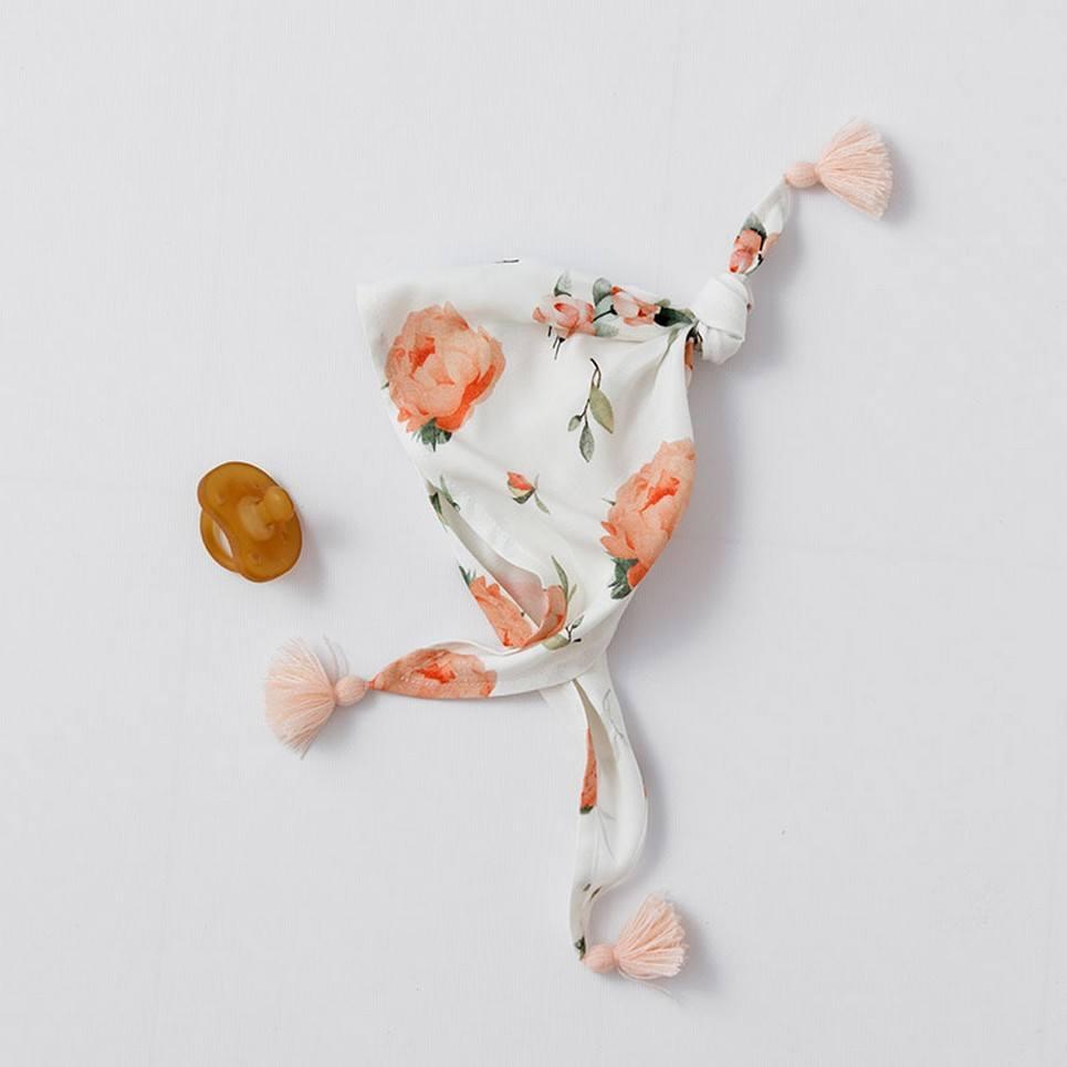 Peach Peonies Bamboo Triangular Handkerchief