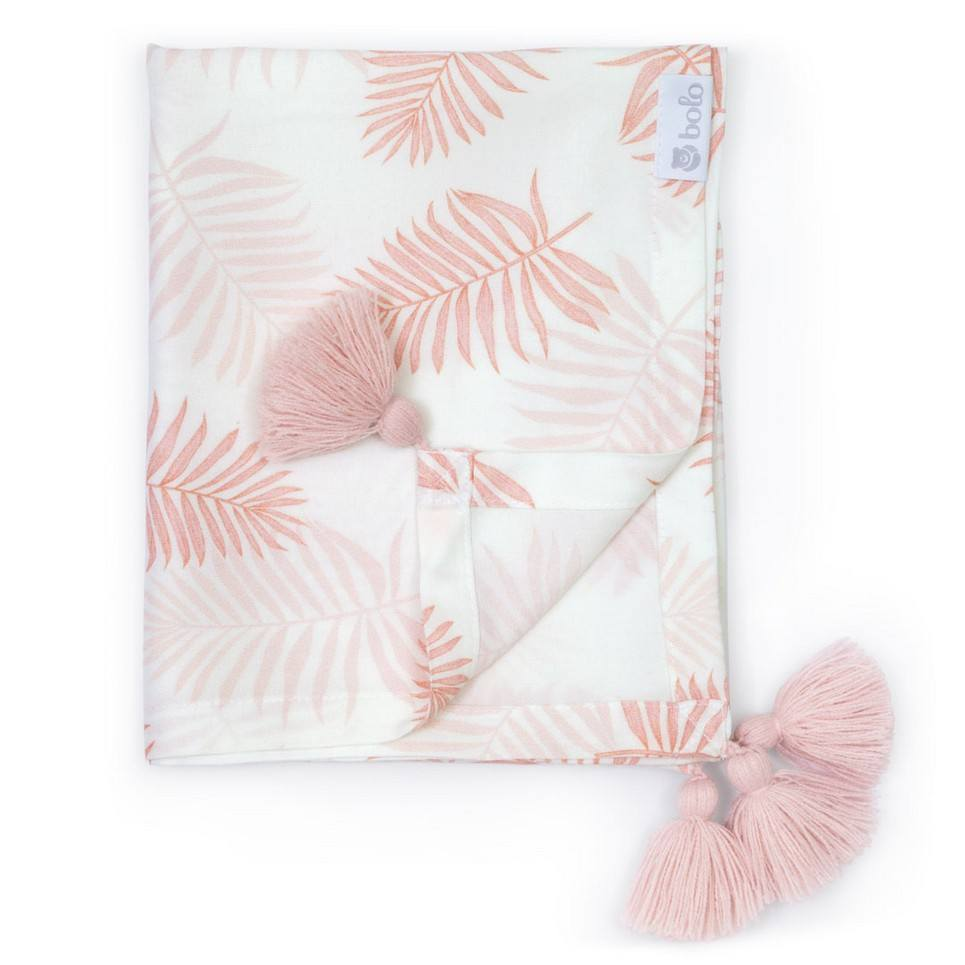 Pink Leaves Bamboo Swaddle Blanket