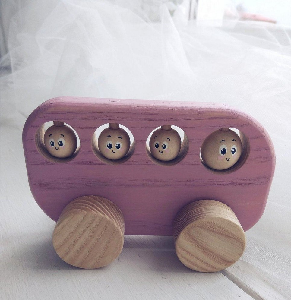Pink Wooden Bus Push Toy