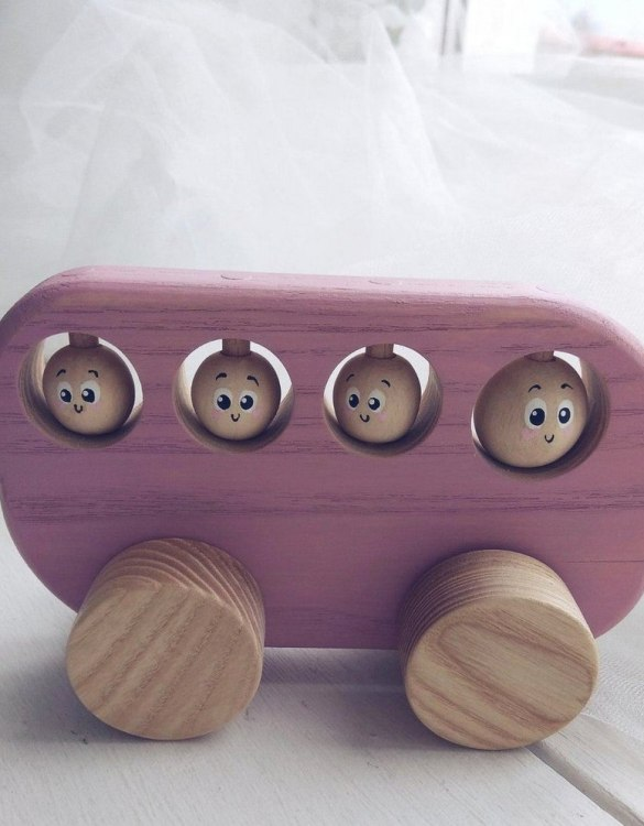 Perfect for little hands, the Pink Wooden Bus Push Toy is so much fun and will bring joy to your little one's play time. This cute and brightly coloured little montessori toy will be loved by toddlers.
