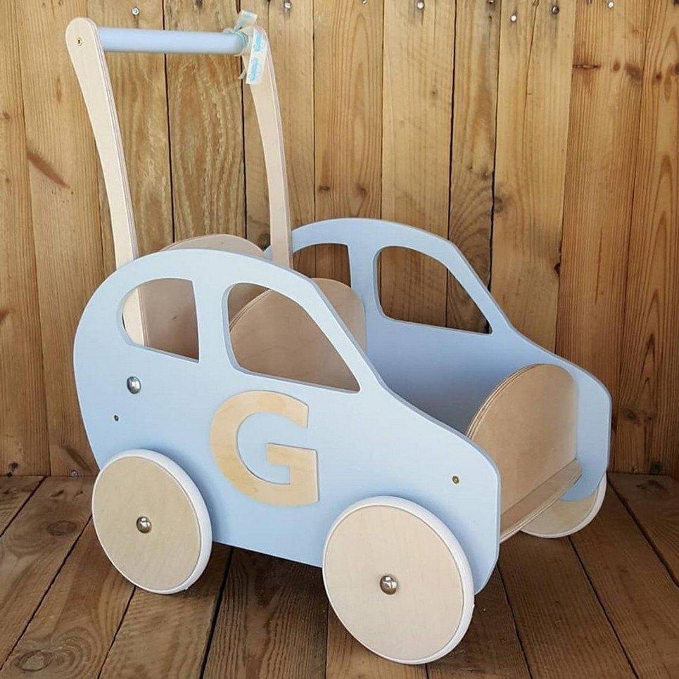 Baby Blue Personalised Wooden Baby Walker