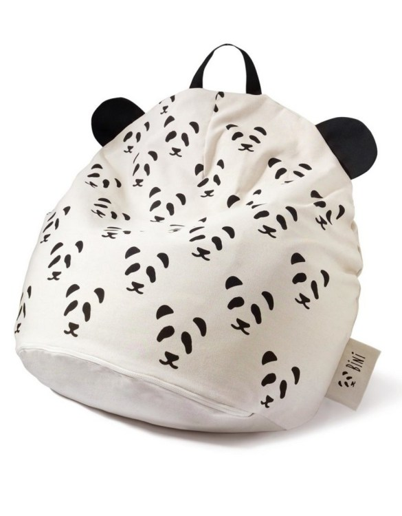 A charming little seat, the Bini with Pandas and Black Handle Kid's Beanbag is an ideal solution to create a custom, stylish space for a children's room, youth room, or even a living room.