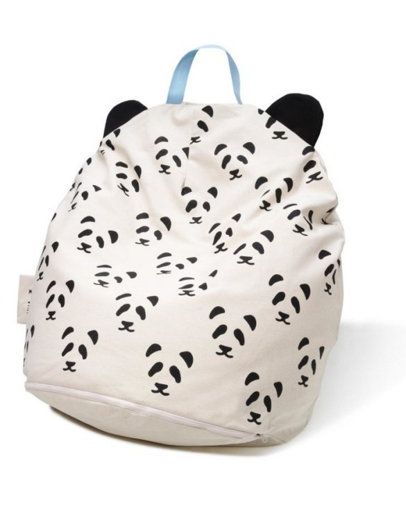 A charming little seat, the Bini with Pandas and Blue Handle Kid's Beanbag is an ideal solution to create a custom, stylish space for a children's room, youth room, or even a living room.