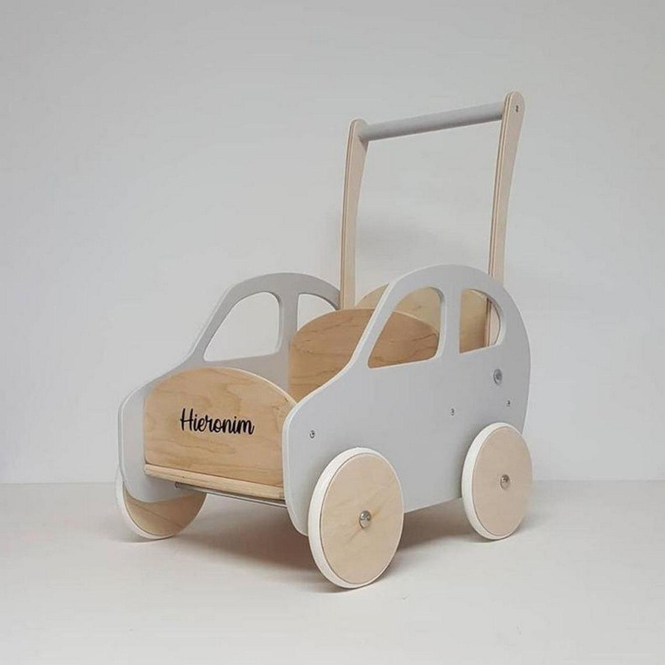 Fashionable Gray Personalised Wooden Baby Walker