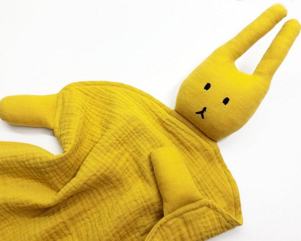 Peter Rabbits Ocher Baby Comforter