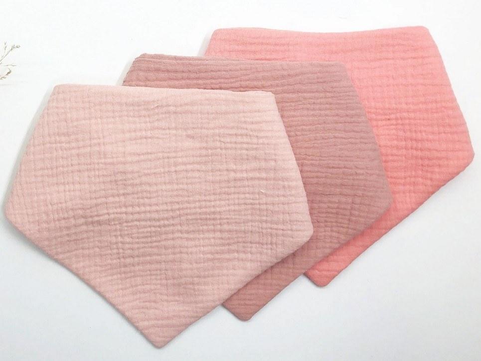 Set of 3 Pink Baby Bandana Bibs
