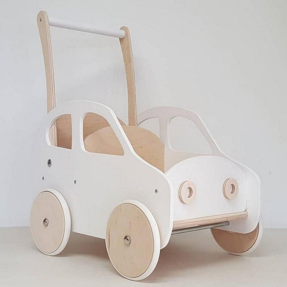 White Fluff Personalised Wooden Baby Walker