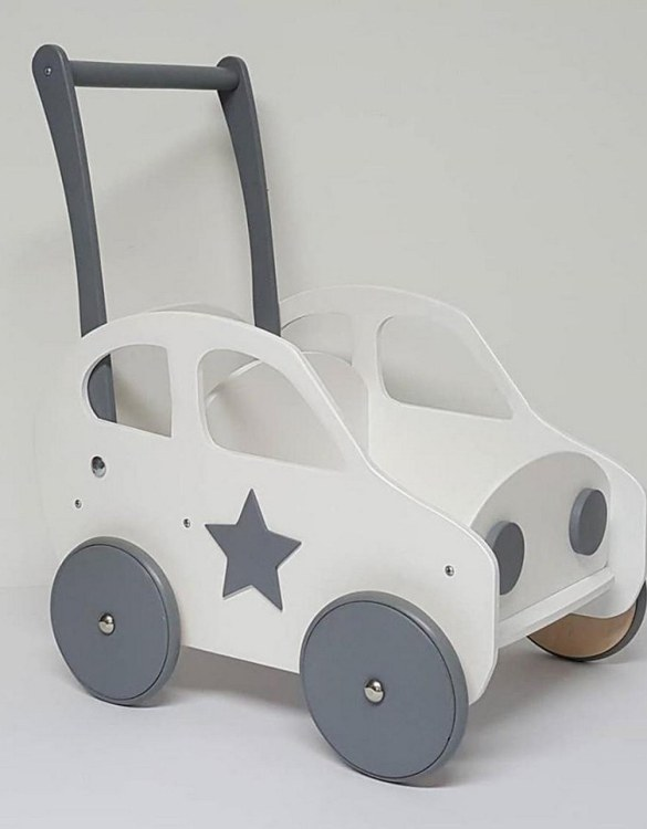 Colourful, fun and educational, the White and Grey Personalised Wooden Baby Walker will satisfy the most demanding children. This will fulfill their innermost dreams. A personalized wooden walker in the shape of a car for children. Thanks to it, the child will learn to walk and will have fun at the same time.