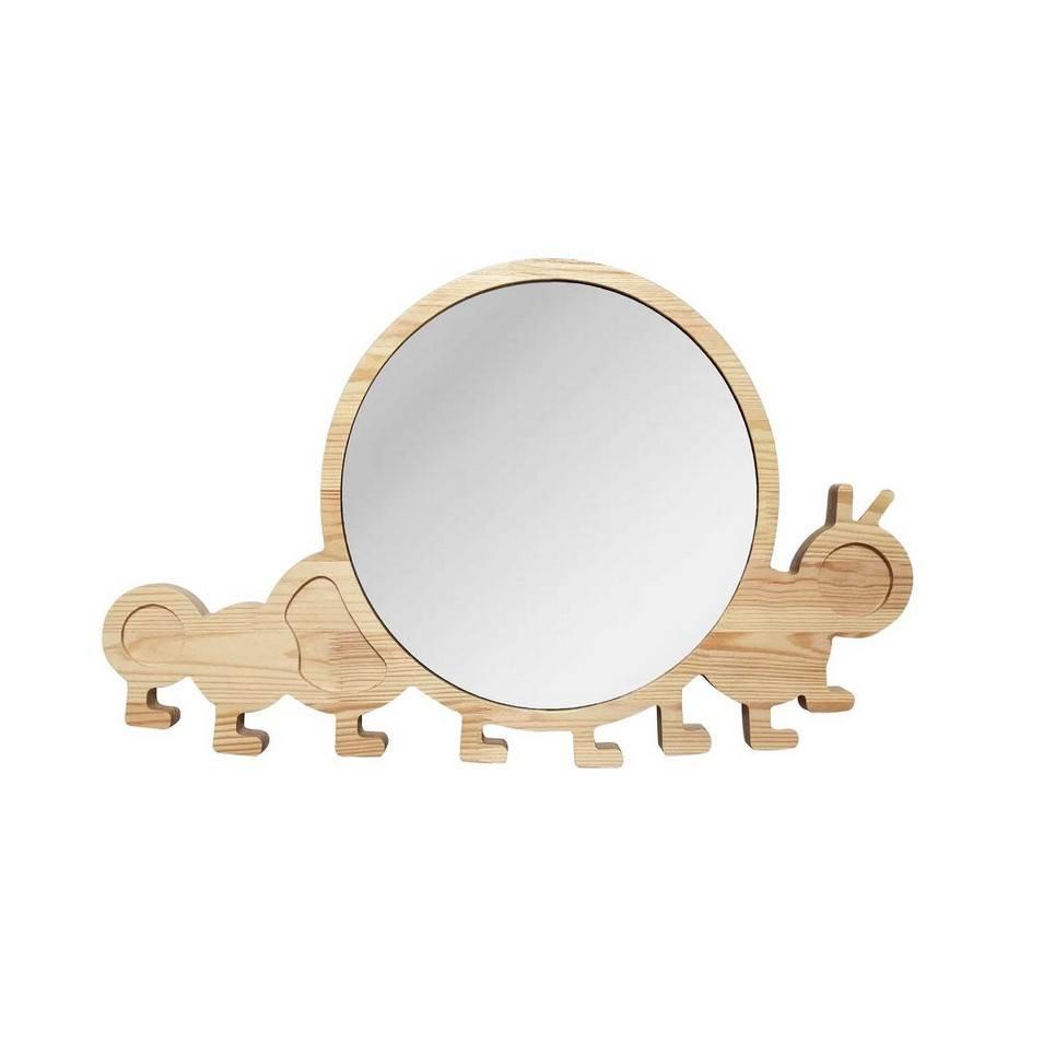 Big Solid Pinewood Mirror Caterpillar