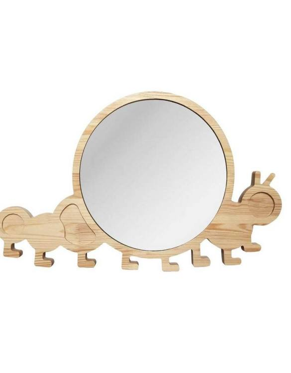A modern design that will please you and your little one, the Big Solid Pinewood Mirror Caterpillar fits perfectly in the nursery or kids' room. Safe and unbreakable acrylic mirror made of high-quality solid pinewood.