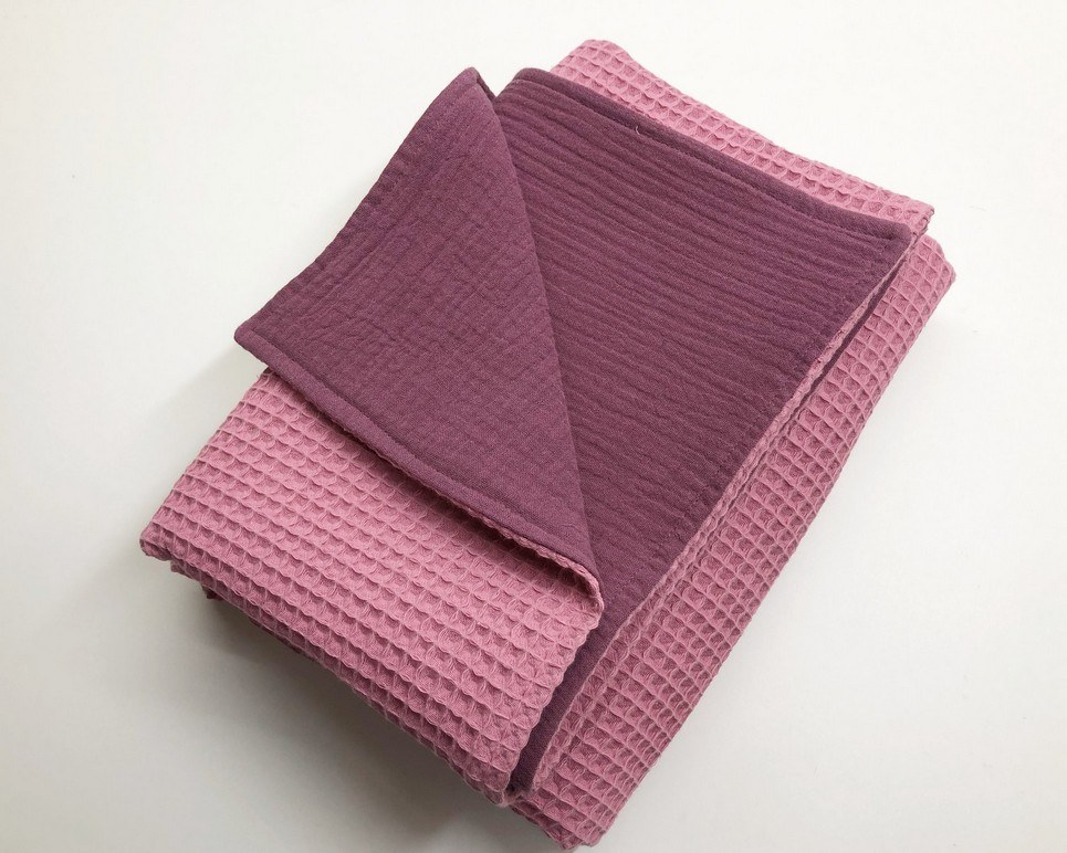 Coral Pink – Plum Pink Waffle Blanket