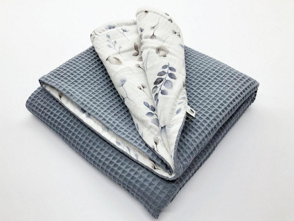Grey Blue Flower Waffle Blanket