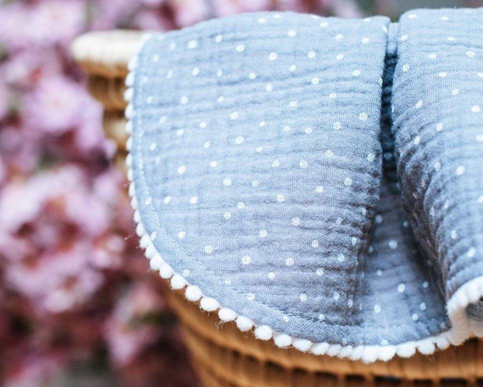 Grey Polka Dot Pompon Blanket