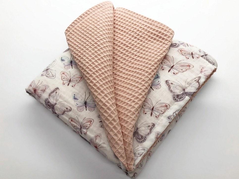 Nude Pink Butterfly Waffle Blanket