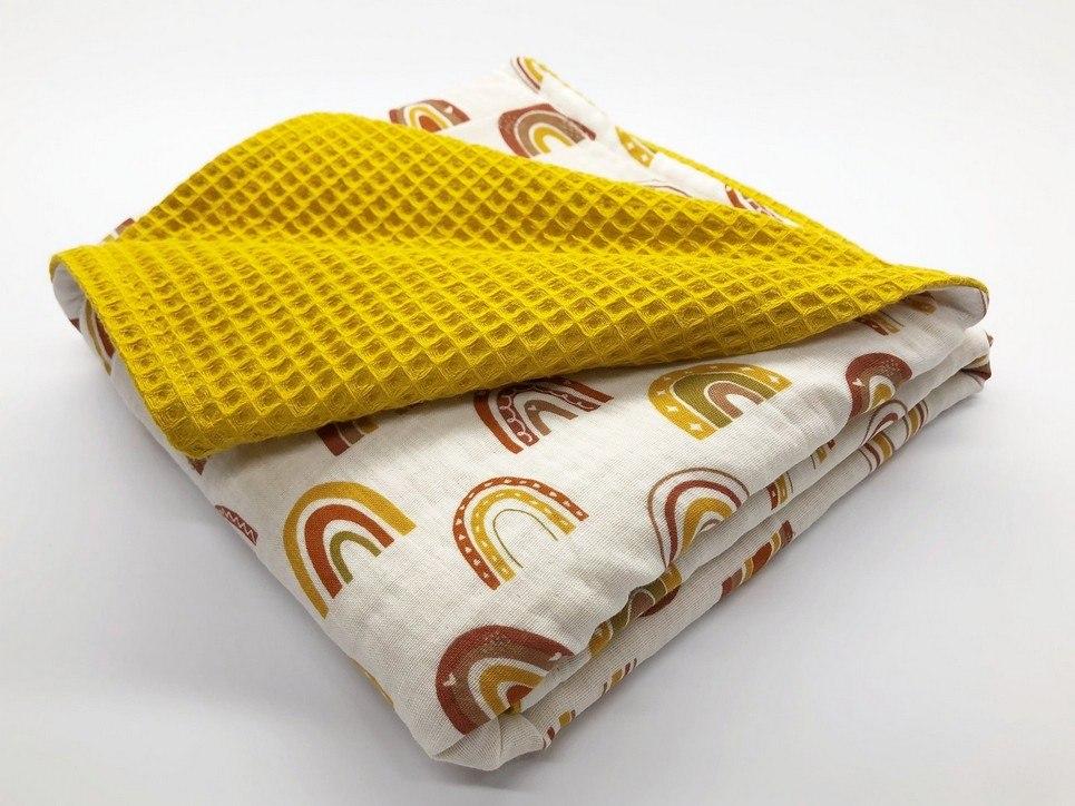 Ocher Rainbow Waffle Blanket
