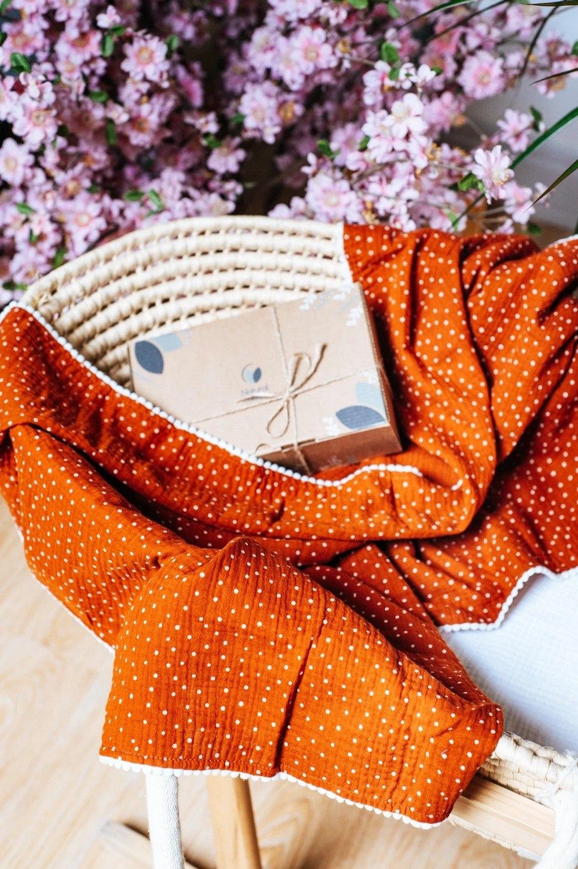 Orange Polka Dot Pompon Blanket