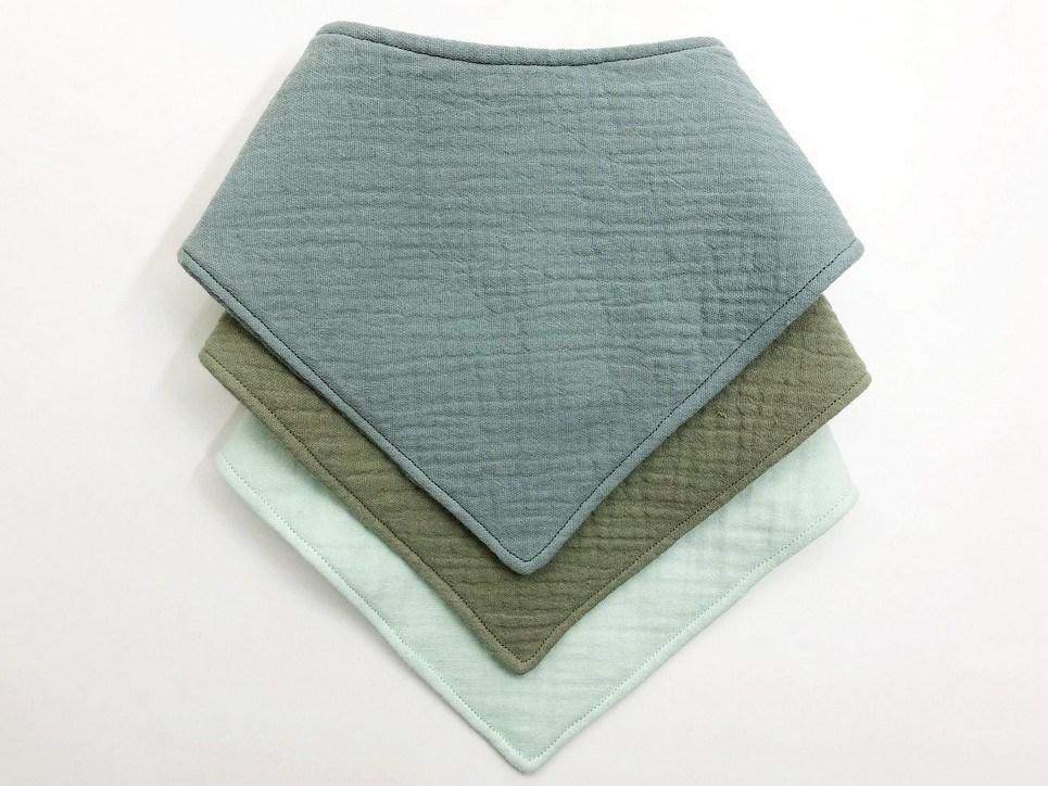 Premium Quality Set of 3 Green Baby Bandana Bibs