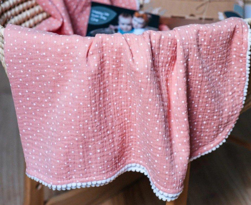 Salmon Polka Dot Pompon Blanket