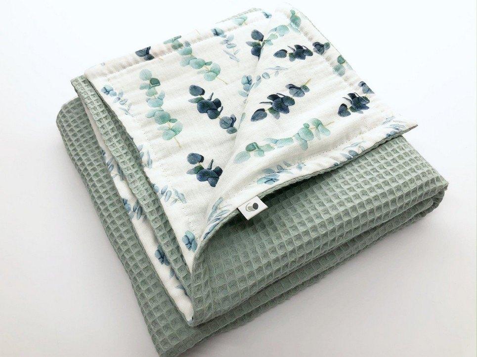 Sea Green Flower Waffle Blanket