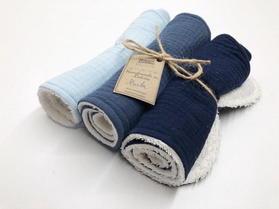 Set of 3 Blue Burp Rags