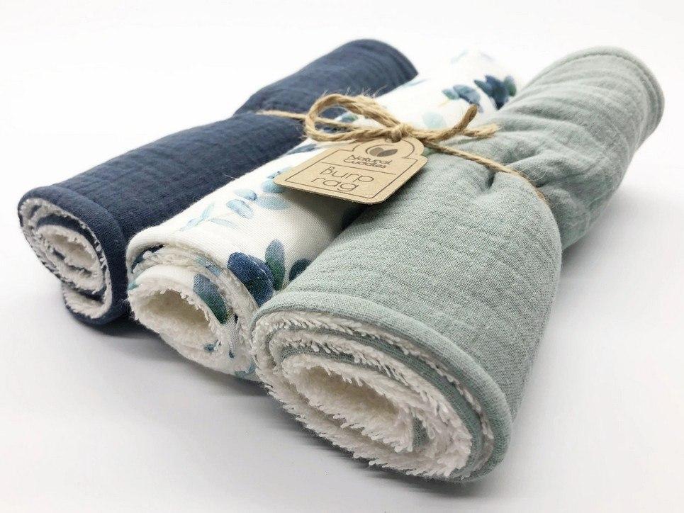 Set of 3 Green – Blue Burp Rags