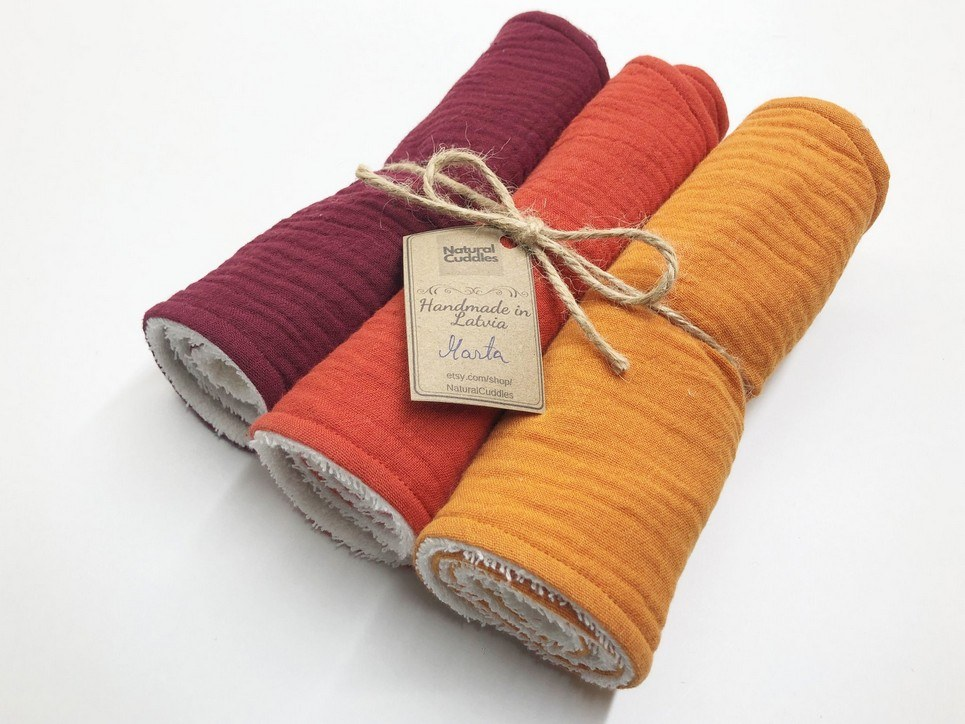 Set of 3 Orange Burp Rags